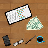 Tablet with chart and graph. Vector research financial document illustration Stock Image