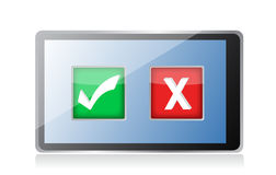 Tablet with check and x marks selection Royalty Free Stock Image
