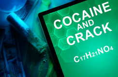 Tablet with the chemical formula of Cocaine and crack. Royalty Free Stock Photos