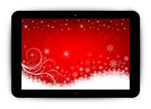 Tablet with Christmas background Stock Photography