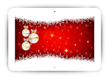 Tablet with Christmas background Royalty Free Stock Photography