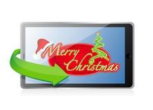 Tablet - Christmas illustration design Stock Photos