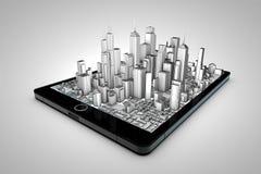 Tablet city. City hologram on a tablet stock illustration