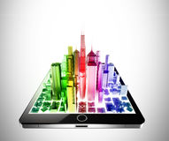 Tablet city Royalty Free Stock Photo