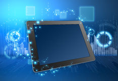 Tablet and the city skyline in background Stock Images
