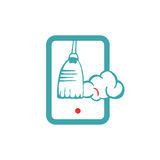 Tablet cleanup, removing trash vector icon. Royalty Free Stock Photography