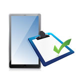 Tablet and clipboard with checkmark vector illustration