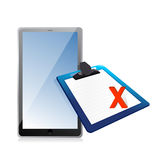 Tablet and clipboard with xmark Royalty Free Stock Image