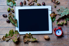 Tablet, clock and fallen leaves Royalty Free Stock Photos