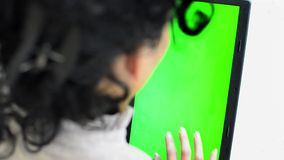 Tablet, close up. Hands holding and using business tablet CHROMA KEY