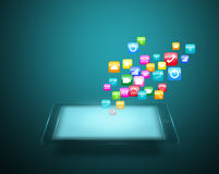 Tablet with cloud of colorful application icons Royalty Free Stock Image