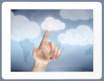 Tablet with cloud computing concept Stock Images