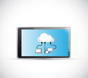 Tablet and cloud computing connection illustration Royalty Free Stock Photo