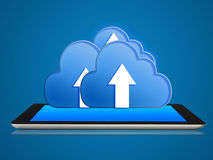 Tablet and cloud computing connection. Royalty Free Stock Photo