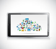 Tablet cloud computing icons illustration design Stock Photos