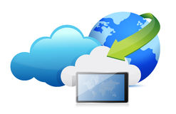 Tablet cloud computing moving concept Stock Photo