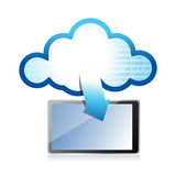 Tablet with cloud computing symbol on a screen Royalty Free Stock Photo