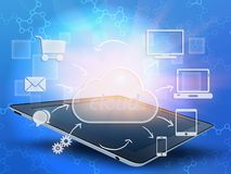Tablet and cloud with icons around it. Stock Photo