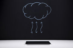 Tablet and the cloud service Stock Images