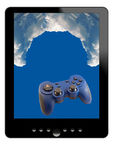 Tablet, clouds and gamepad Royalty Free Stock Photography