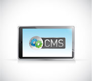 Tablet and cms message illustration Stock Photo