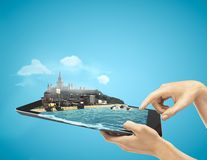 Tablet with coast Stock Image