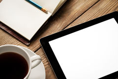 Tablet, Coffee and Agenda Stock Images