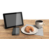 Tablet and coffee cup Simple workspace or coffee break with web. Tablet and coffee cup Simple workspace or coffee bon Stock Photo