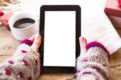 Tablet and Coffee Royalty Free Stock Photos