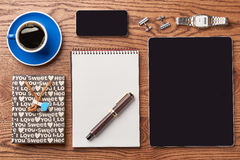 Tablet, coffee and notepad. Royalty Free Stock Photos