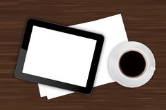 Tablet and Coffee on Office Table Royalty Free Stock Photos