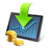 Tablet with coins and arrow pointing on diagram Stock Photography