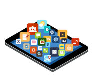 Tablet with colorful application icons. Royalty Free Stock Image