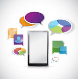 Tablet colorful communication illustration Royalty Free Stock Image