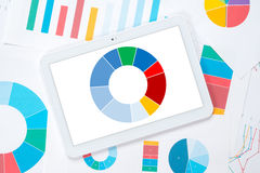 Tablet colorful pie chart Stock Photos
