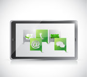Tablet communication. contact us illustration Royalty Free Stock Photos
