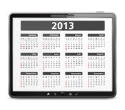 Tablet computer with 2013 calendar Stock Image