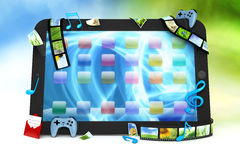 Tablet computer. With movies, music, and games Stock Image