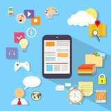 Tablet computer application flat icon design Royalty Free Stock Photo