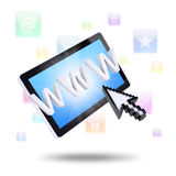 Tablet computer and application icons Stock Image