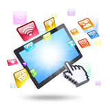 Tablet computer and application icons Royalty Free Stock Photography