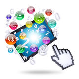Tablet computer and application icons Stock Photography