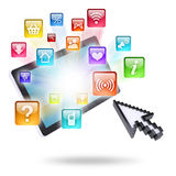 Tablet computer and application icons Stock Photo