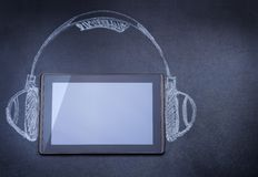 Tablet computer as audio player Royalty Free Stock Photos