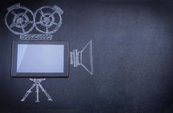 Tablet Computer As Movie Camera Royalty Free Stock Image