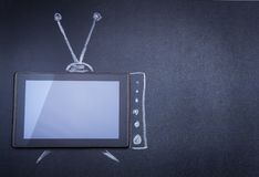 Tablet computer as TV Royalty Free Stock Photos