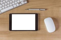 Tablet-Computer auf Schreibtisch Stockbilder