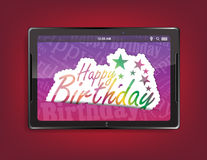 Tablet computer background. Tablet computer with the message Happy birthday on a red background stock illustration