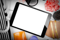 Tablet computer and Beach Items Still Life Royalty Free Stock Photo