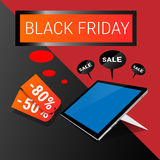 Tablet Computer Big Holiday Sale Black Friday Online Shopping. Flat Vector Illustration Royalty Free Stock Photography